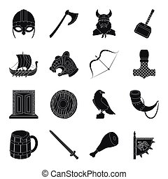 Vikings set icons in black style. Big collection of vikings vector symbol stock illustration