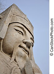 Stone Guardian - Stone guardian statue on the sacred path to...