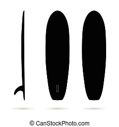 surfboard set in black color illustration