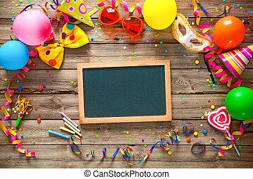 生日, 鮮艷, 背景, 狂歡節, 或者