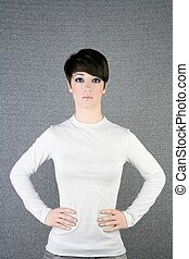 futuristic androgynous brunette woman silver