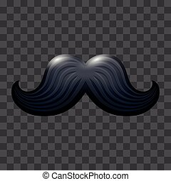 Black glossy mustache. Vector icon suitable for any color...