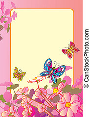 Flowers with butterflies.