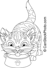 Cat Coloring Page - Cute Kitten Drinking Milk from a Bowl
