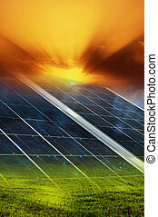 Solar panel background - Gradient solar panel with sunset...