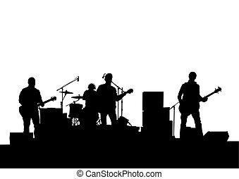 Rock group guitars