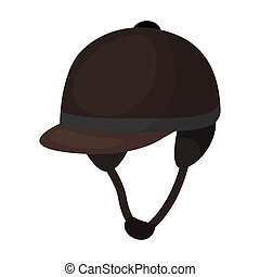 Jockey's helmet icon in cartoon style isolated on white...