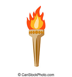 Olympic torch icon in cartoon style isolated on white...