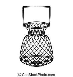 Fishing net icon in cartoon style isolated on white...