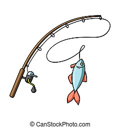 Fishing rod and fish icon in cartoon style isolated on white...