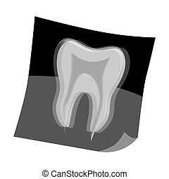 Dental x-ray icon in cartoon style isolated on white...