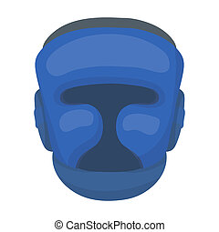 Boxing helmet icon in cartoon style isolated on white...