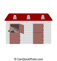 Horse stable icon in cartoon style isolated on white...