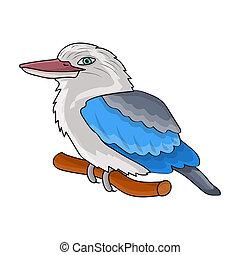 Kookaburra sitting on branch icon in cartoon style isolated...