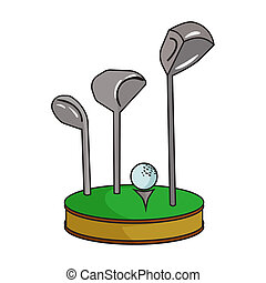 Golf ball and clubs on grass icon in cartoon style isolated...