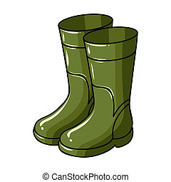 Rubber boots icon in cartoon style isolated on white...