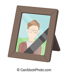 Portrait of deceased person icon in cartoon style isolated on white background. Funeral ceremony symbol stock bitmap, rastr illustration.