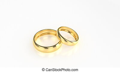 The beauty gold wedding ring on white background. 3d rendering