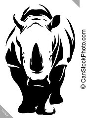 black and white linear paint draw rhino vector illustration...