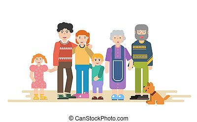 Big family in flat style - Vector illustration of big family...