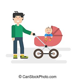 Father with baby in stroller