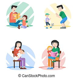 Parents spend time with their children - Four vector concept...