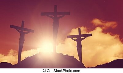 Crosses on a hill crucifixion cross jesus christ christian...