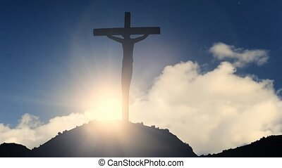 Cross on a hill crucifixion jesus christ christian religion...