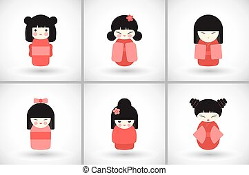 Flat kokeshi dolls set - Kokeshi dolls set. Flat design icon...