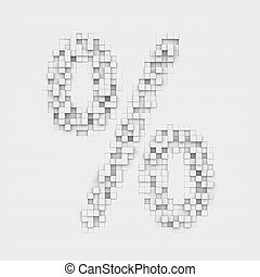 Rendering large percentage symbol made up of white square...