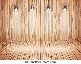 Curved wooden background with spotlights. Presentation and...