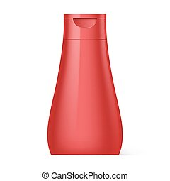 Plastic Bottle Shampoo Packaging - Red Plastic Bottle...