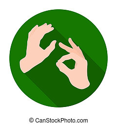 Sign language icon in flat style isolated on white...
