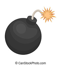 Pirate grenade icon in cartoon style isolated on white...