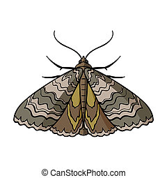 Moth icon in cartoon style isolated on white background....