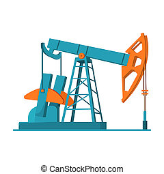 Oil pumpjack icon in cartoon style isolated on white...