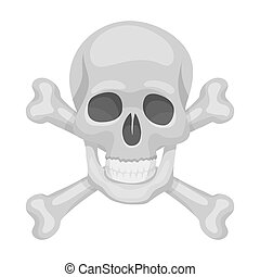 Pirate skull and crossbones icon in cartoon style isolated...