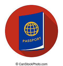 Passport icon in flat style isolated on white background....
