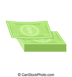 Pile of cash icon in cartoon style isolated on white...