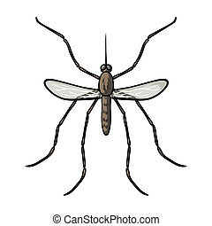 Mosquito icon in cartoon style isolated on white background....