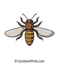 Bee icon in cartoon style isolated on white background....