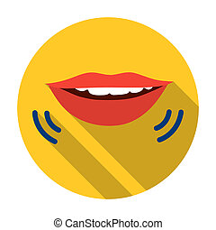 Speaking mouth icon in flat style isolated on white...