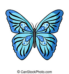 Butterfly icon in cartoon style isolated on white...