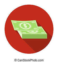 Pile of cash icon in flat style isolated on white...
