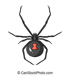 Black widow spider icon in cartoon style isolated on white...