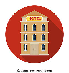 Hotel building icon in flat style isolated on white...