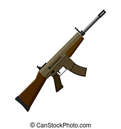 Military assault rifle icon in cartoon style isolated on...