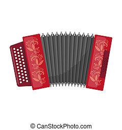 Classical bayan, accordion or harmonic icon in cartoon style...