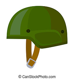 Army helmet icon in cartoon style isolated on white background. Military and army symbol stock bitmap, rastr illustration
