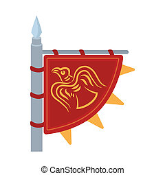 Viking's flag icon in cartoon style isolated on white...